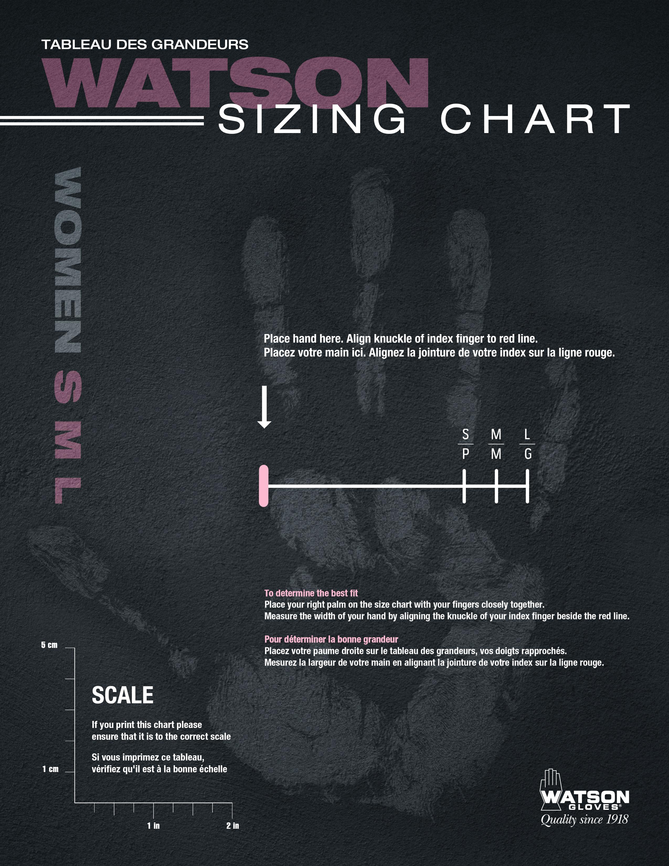 Watson Gloves Sizing Chart Women