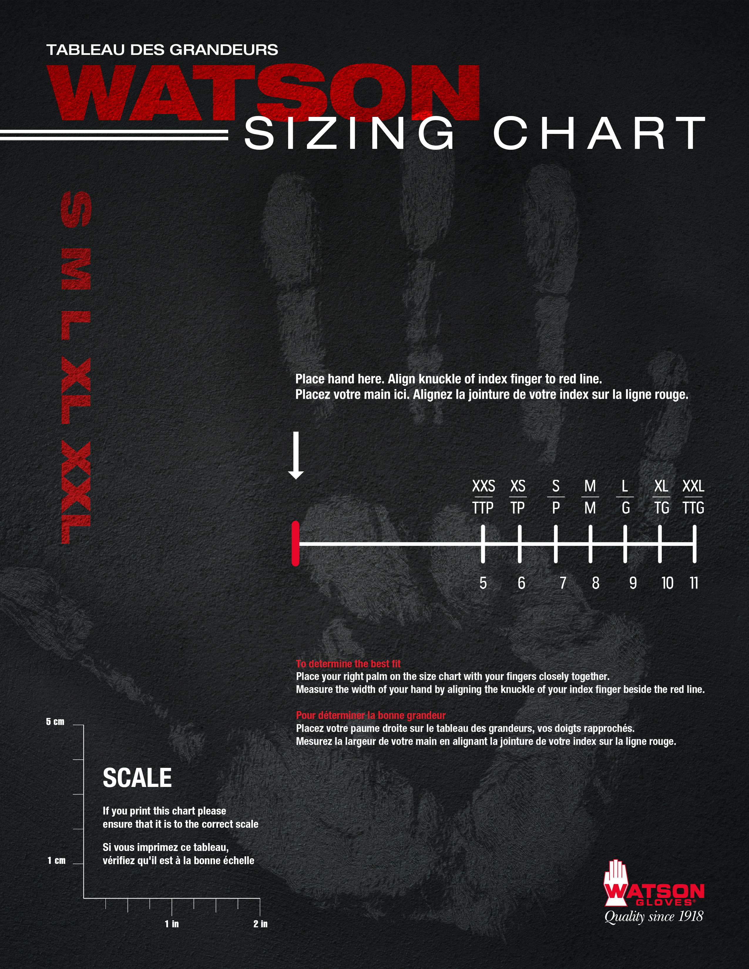 Watson Gloves Sizing Chart